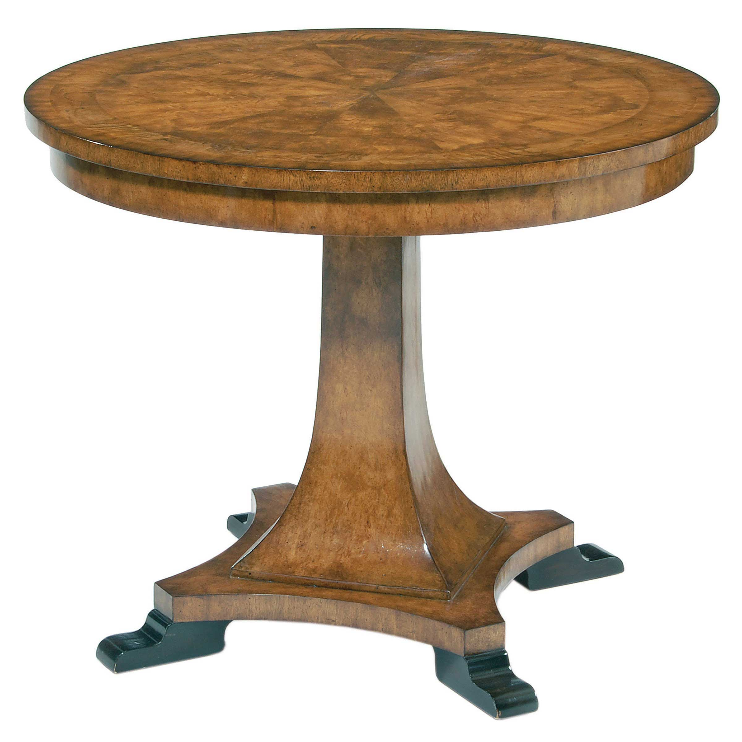 9640 17 Ginger Finished Center Table White Ash Burl Top